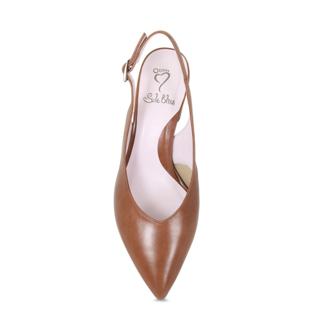 Tan Leather Sling-Back Block Heel Pumps