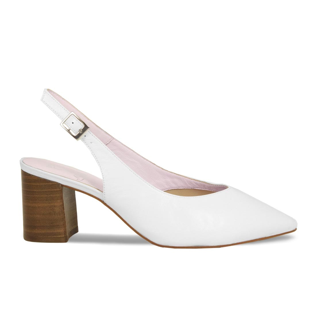 White Leather Sling-Back Block Heels