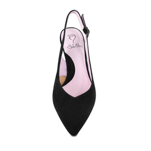Black suede slim heel pump for wide feet and bunions