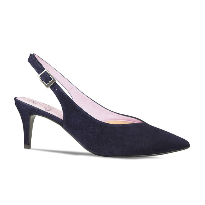 Mid Heel Navy Suede Slingback for Bunion Sufferers