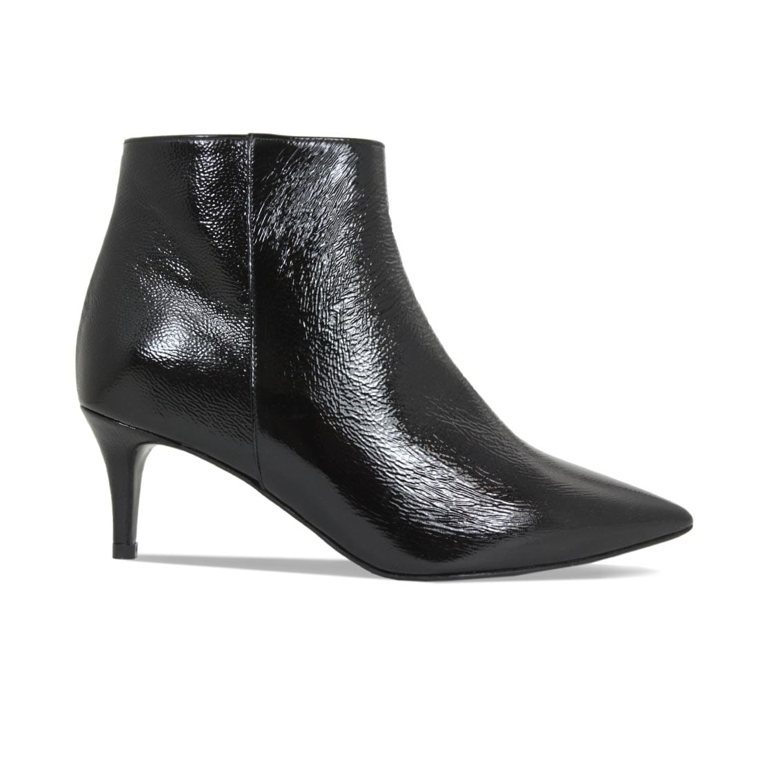 Black Patent Leather Slim Heel Ankle Boots