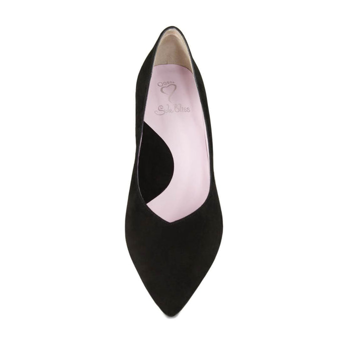 Pretty black suede mid-heel pump for bunions