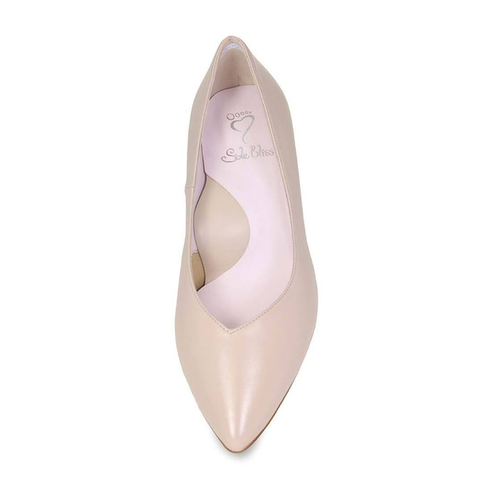 Blush leather wide width pumps for bunions