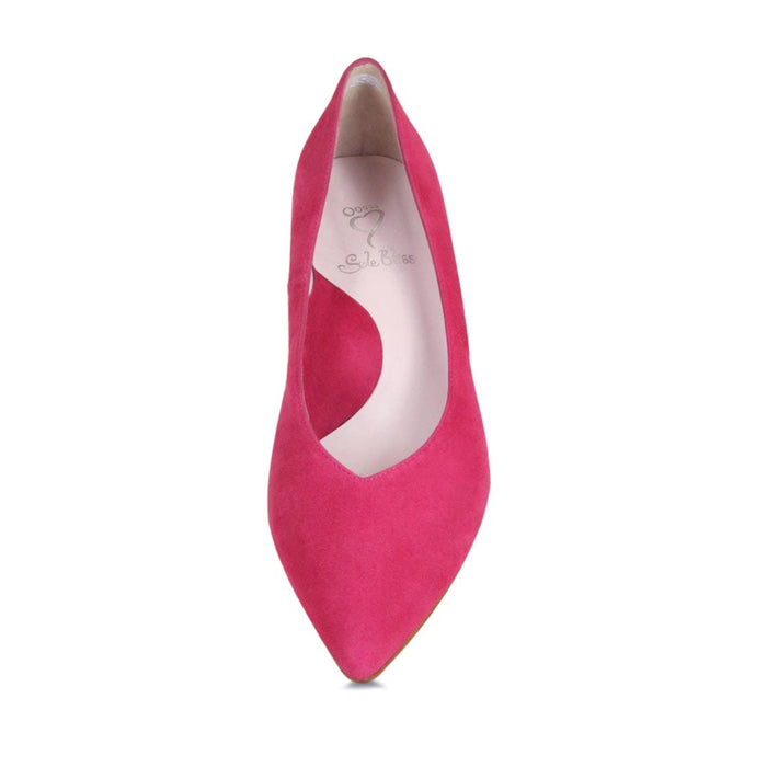 Pretty pink suede pump for bunions