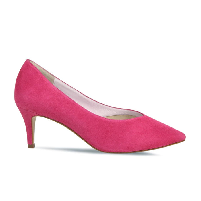 Hot Pink Suede Slim Mid Heeled Court for Wider Feet and Bunions