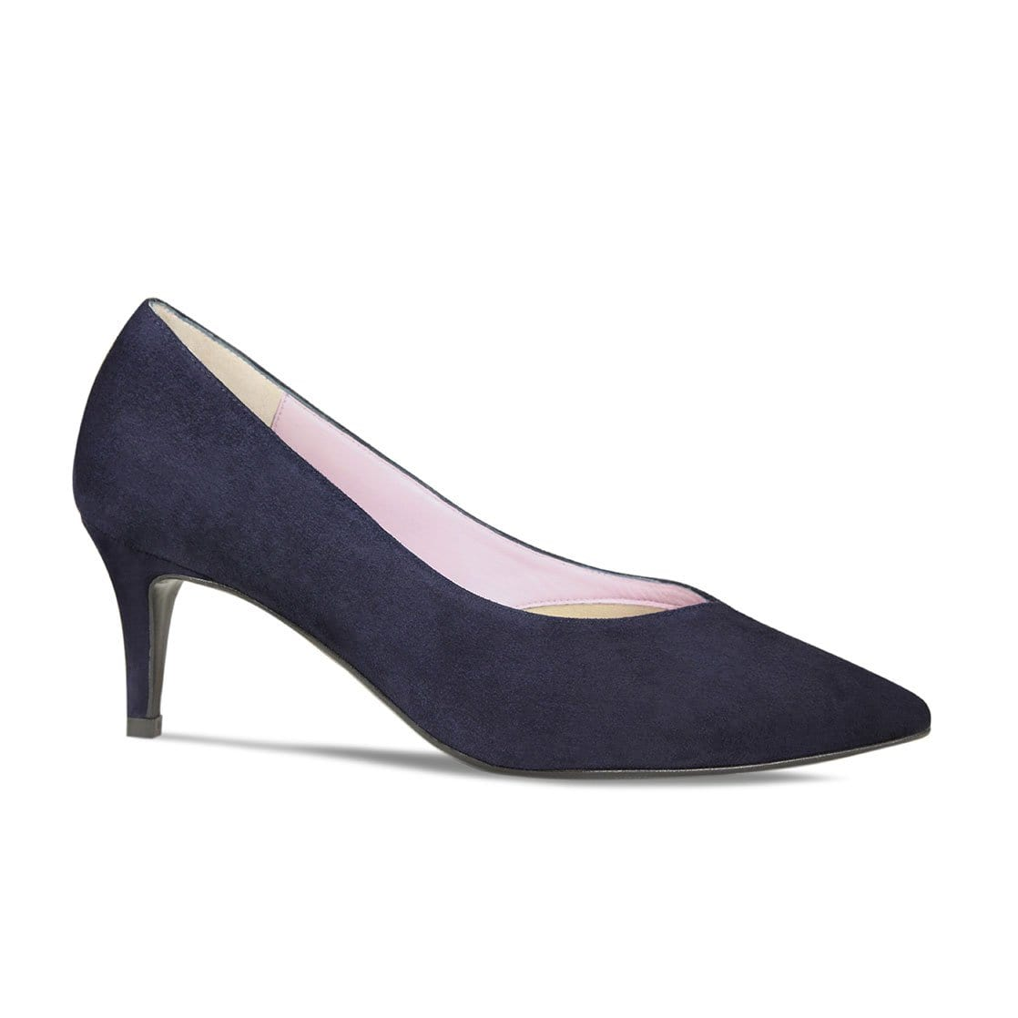 Navy Suede Mid-Heel Pumps