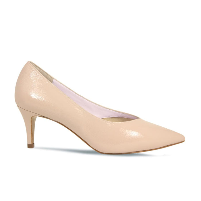 Nude Patent Leather Mid Slim Heel Pump for Bunions