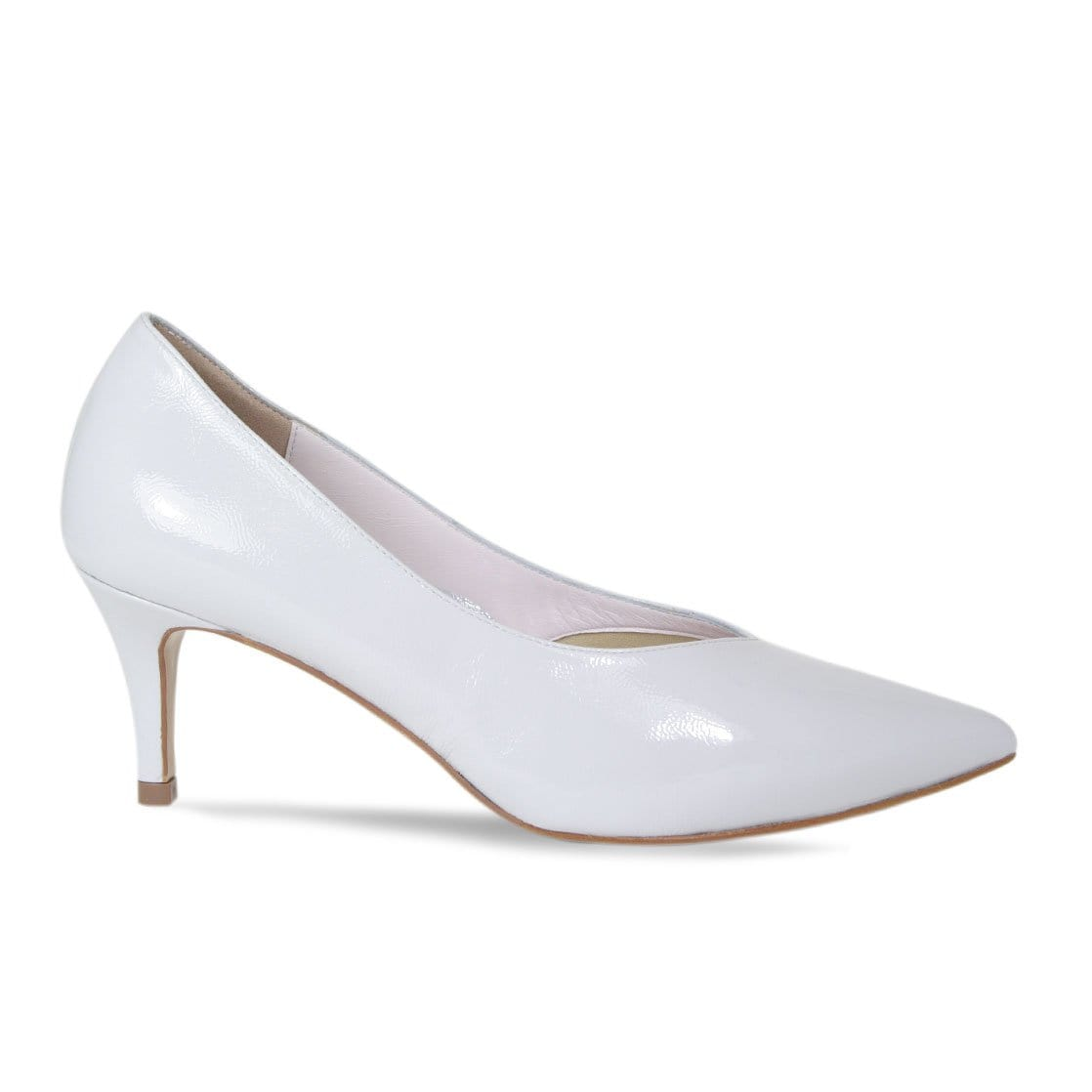 Pale Gray Patent Mid-Heel Pumps