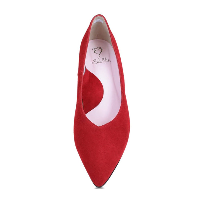 Red suede mid-heel for wide width and bunions