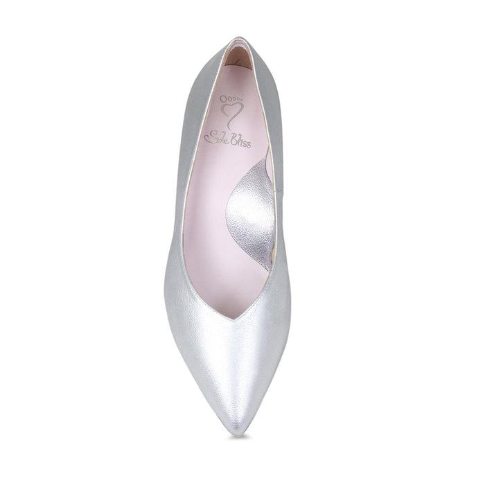Cute silver leather bridal pumps for wide width