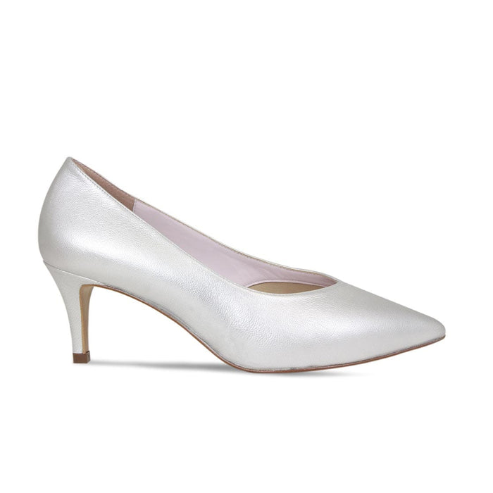 Silver Leather Bridal Mid Heel Court Pump for Bunions