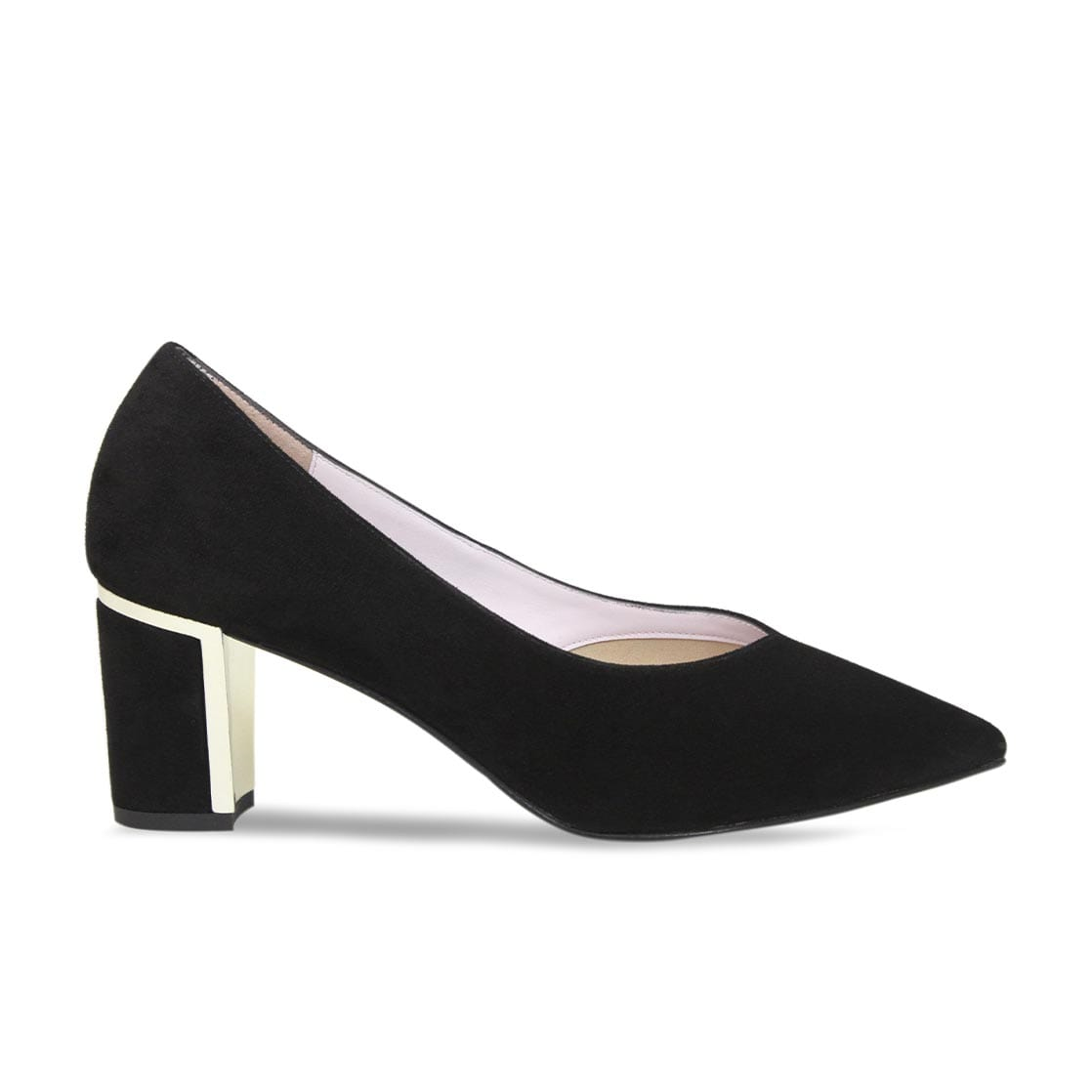 Black Suede Occasion Block Heel Pumps