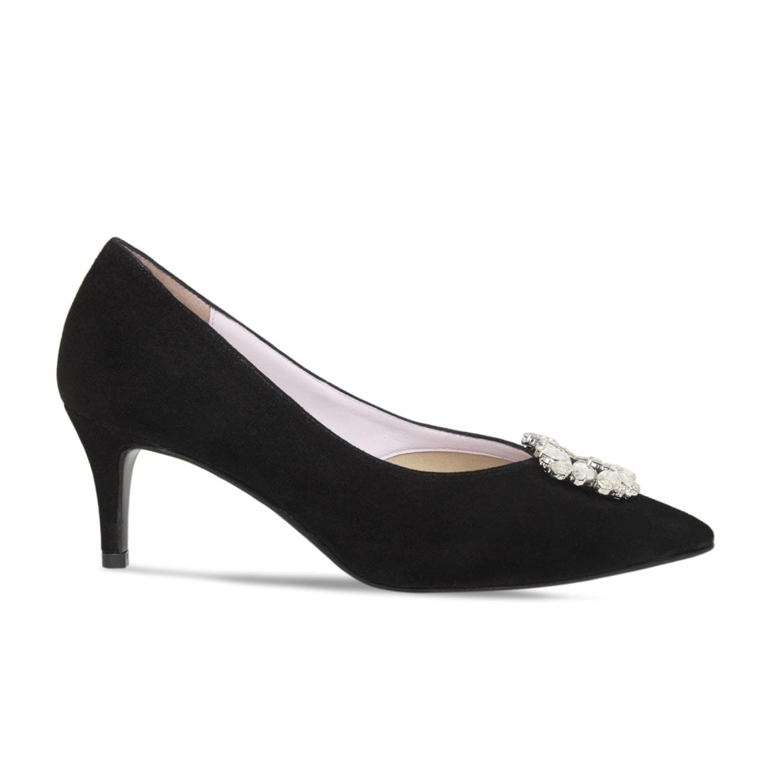 Black Suede Mid-Heel Embellished Pumps