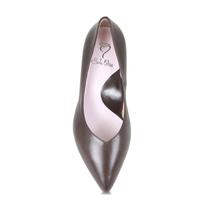 Smart brown leather pumps for wide feet and bunions