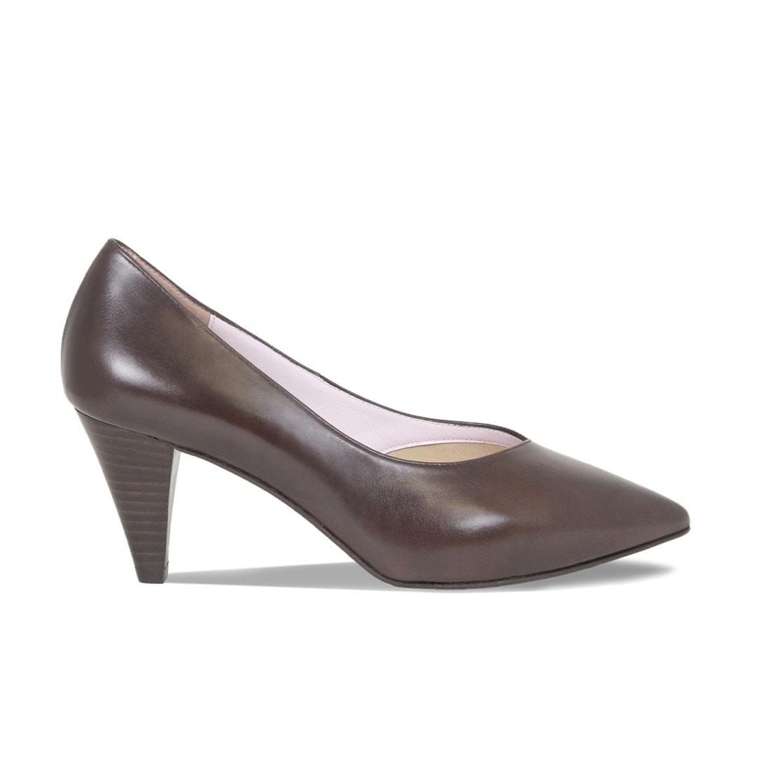 Brown Leather Cone Heeled Pumps