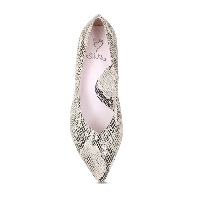 Snake print heels for wider feet or bunions