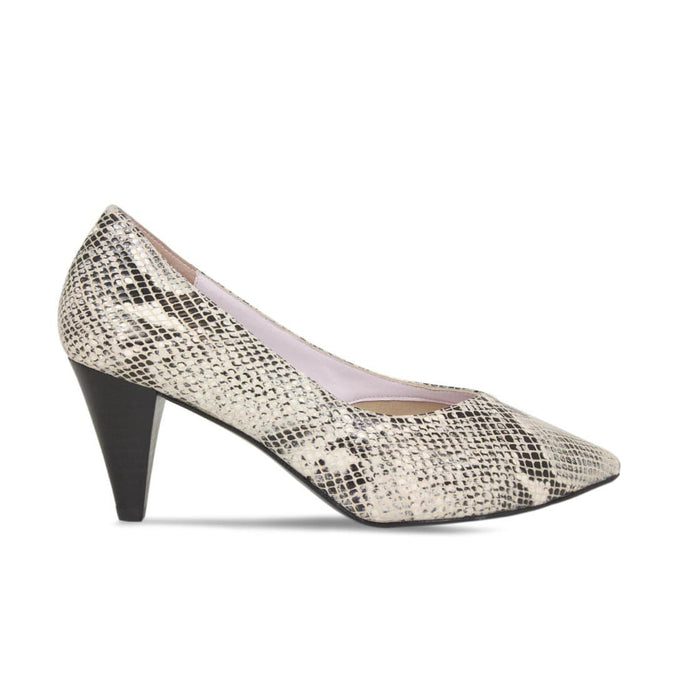 Cute Gray Snake Print Leather Court Heels for Bunions