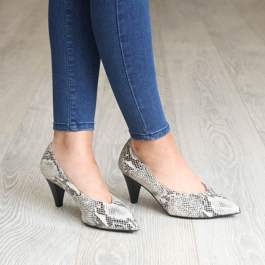 Gray Snake Print Cone Heeled Pumps