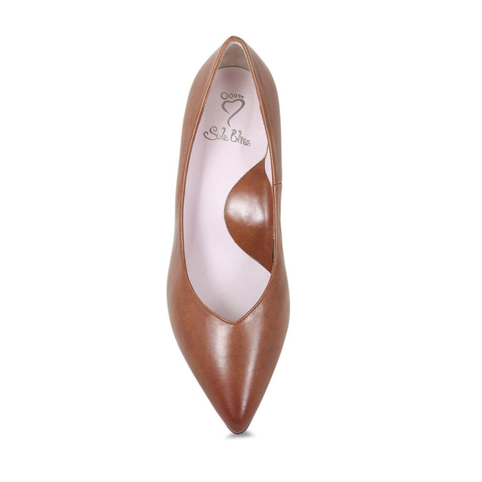 Tan leather pump for bunions by Sole Bliss
