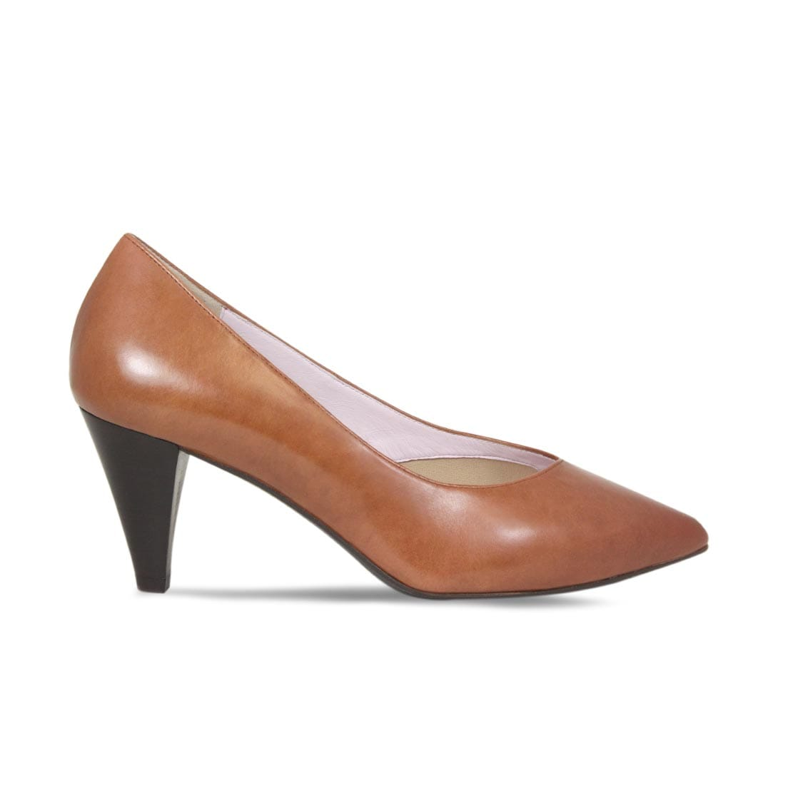 Tan Leather Cone Heeled Pumps