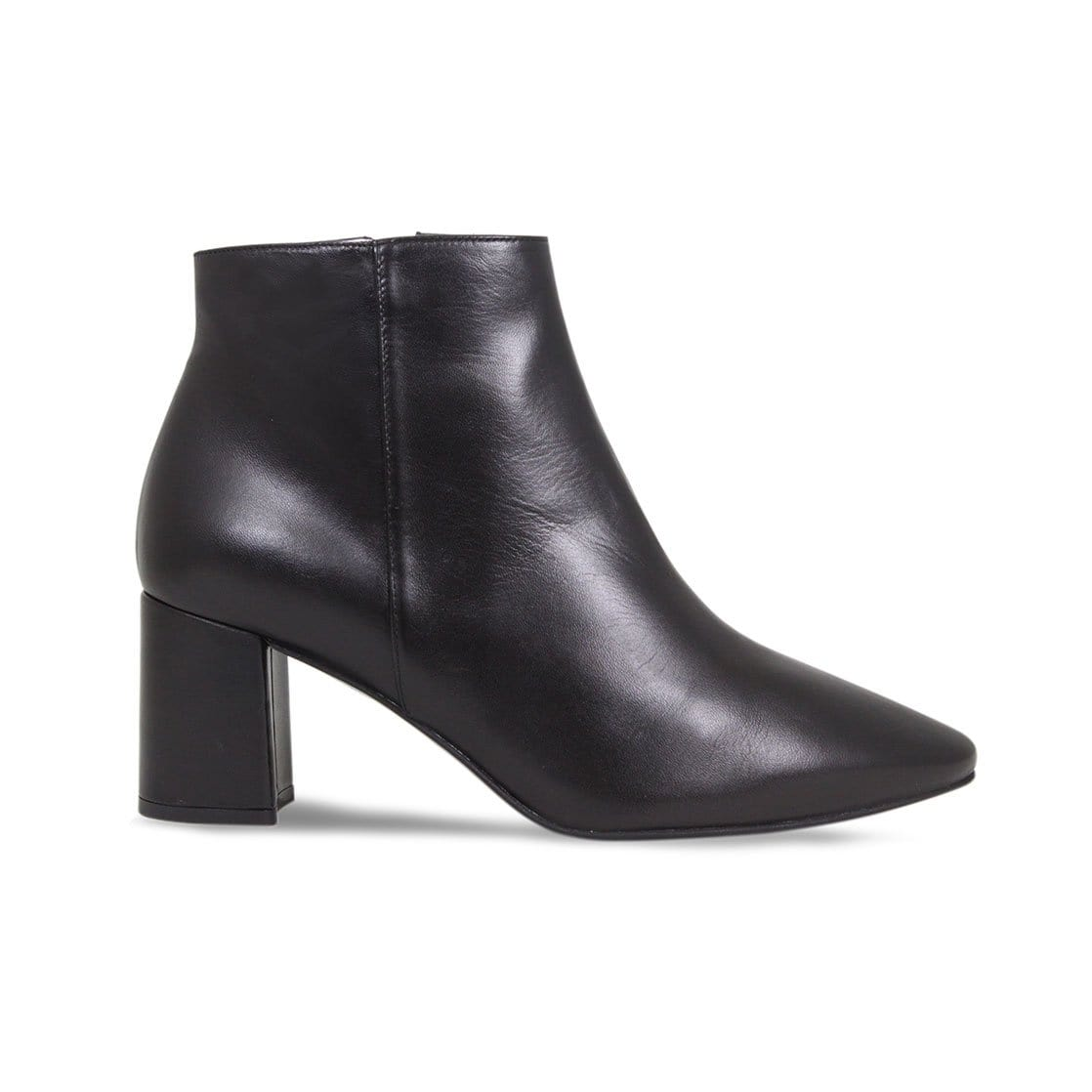 Black Leather Block Heel Ankle Booties