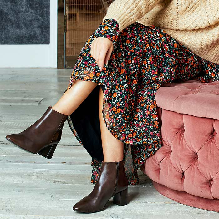 Brown Leather Block Heel Ankle Booties