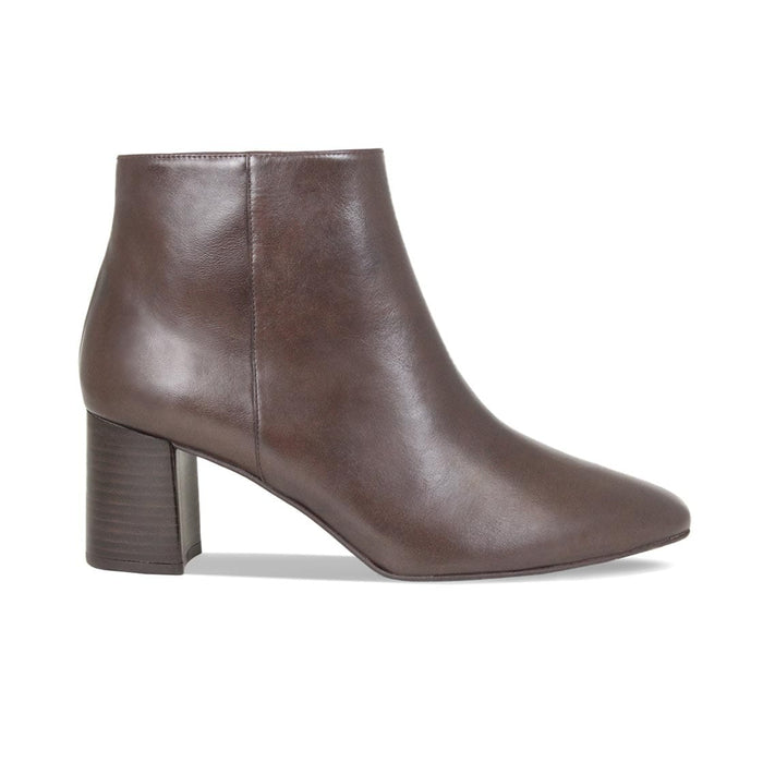 Brown Leather Heeled Ankle Boots by Sole Bliss Bunion Shoe