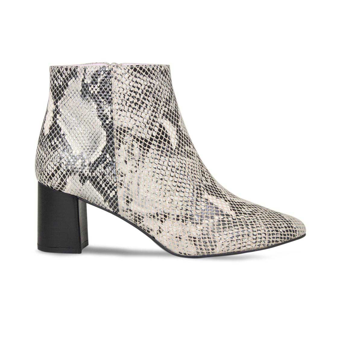 Gray Snake Print Leather Block Heel Ankle Boots