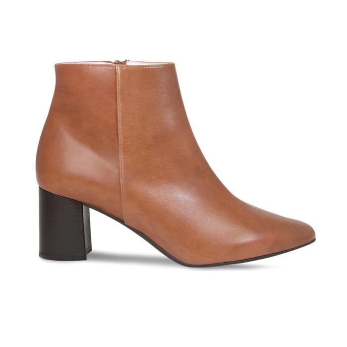 Tan Leather Block Heeled Booties for Bunion Sufferers