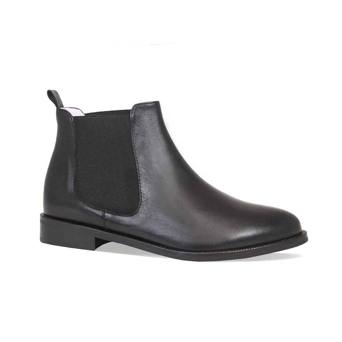 Black Leather Flat Chelsea Boots