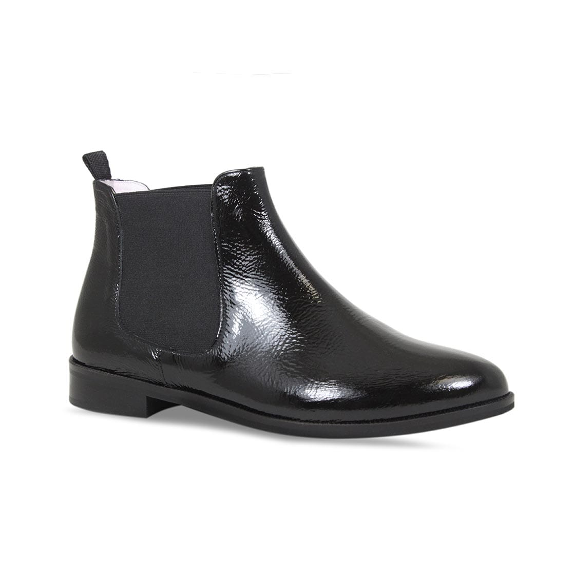 Black Patent Leather Flat Chelsea Boots