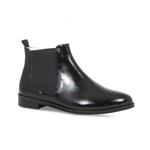 Wider Fit Black Leather Flat Ankle Booties for Bunions