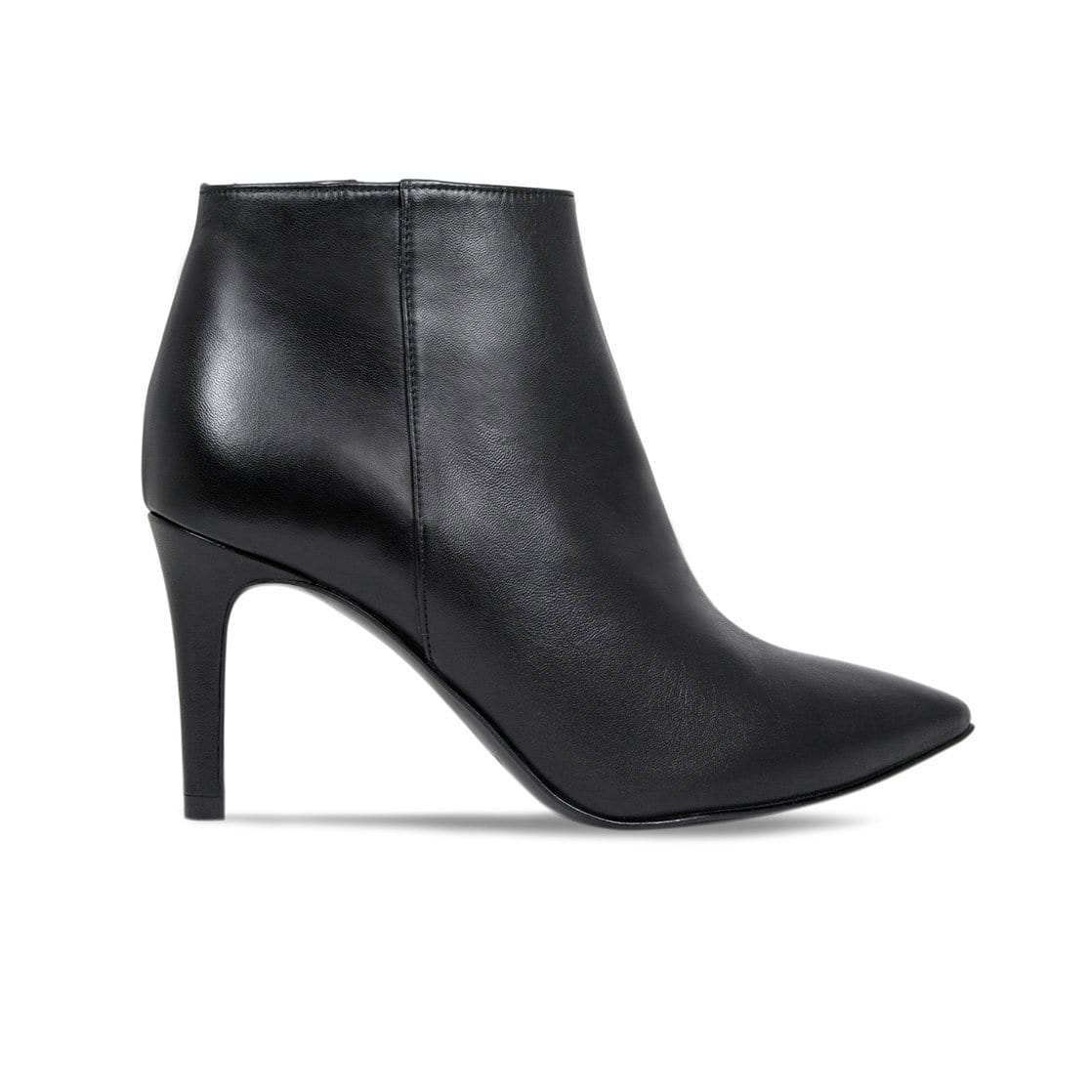 Black Leather High Heeled Ankle Booties