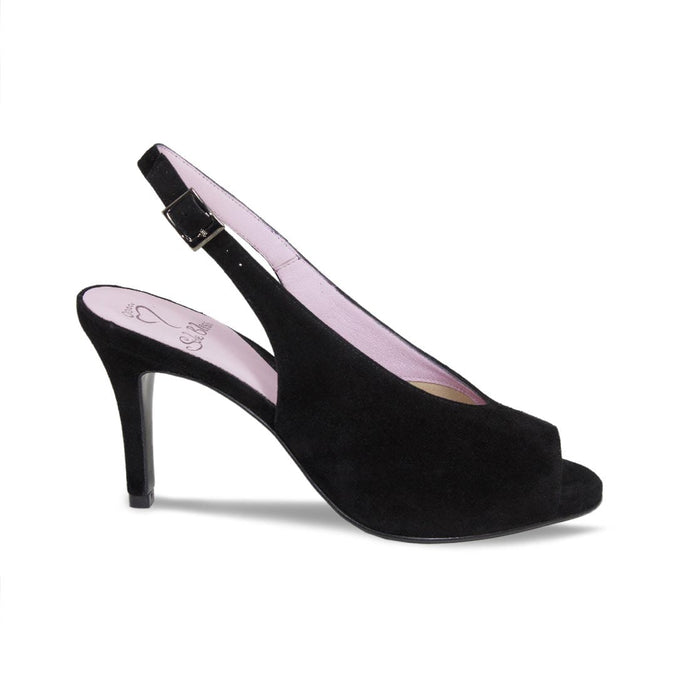 Elegant Black Suede Open-Toe Sandal for Bunions