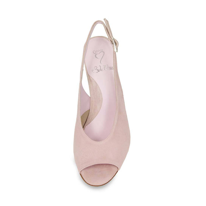 Pretty blush suede sandal for bunions by Sole Bliss