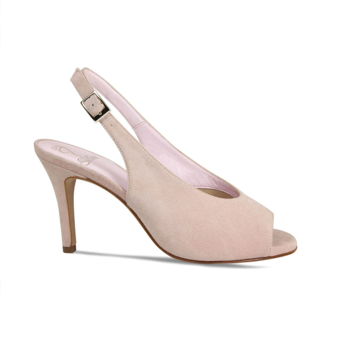 Blush Suede Peep-Toe High Heeled Pumps