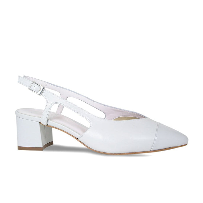 Pale Gray Leather Block Heel Sandal for Bunions