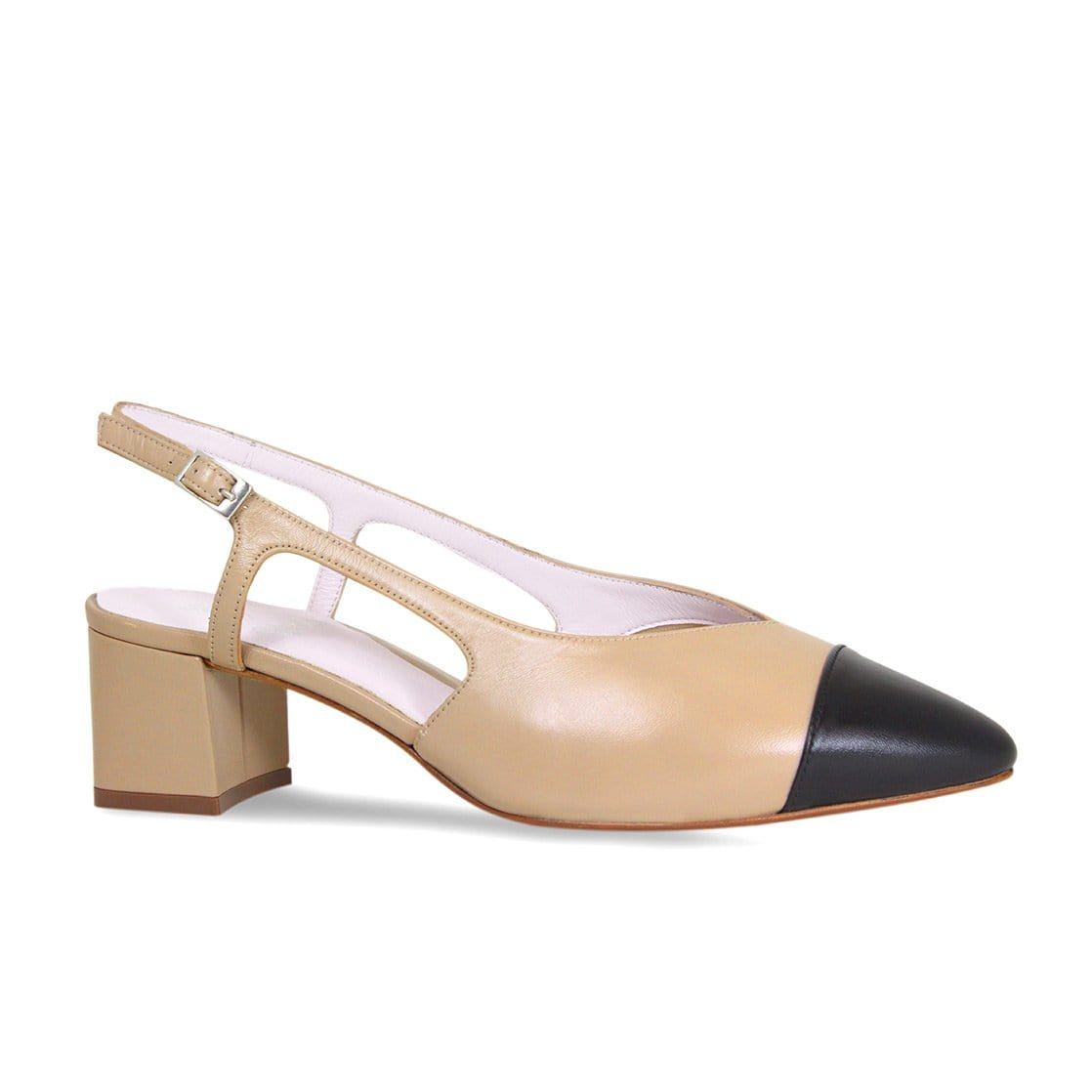 Nude & Black Leather Sling-Back Pumps