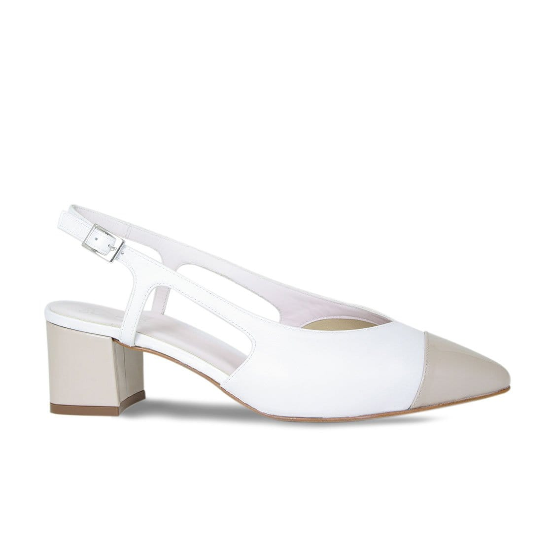 White Leather & Pebble Patent Sling-Back Pumps