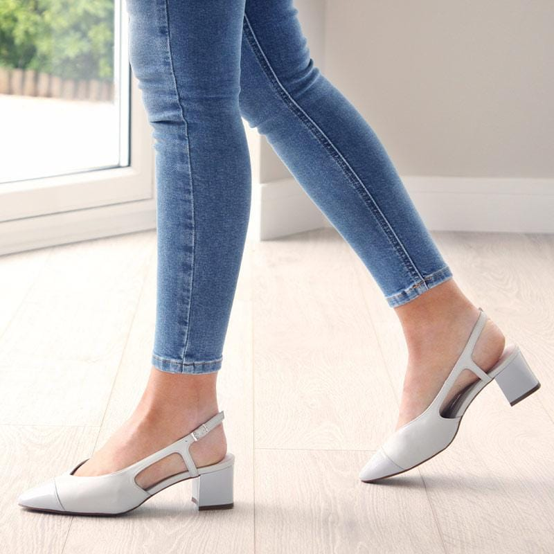 Pale Gray Leather & Patent Sling-Back Pumps