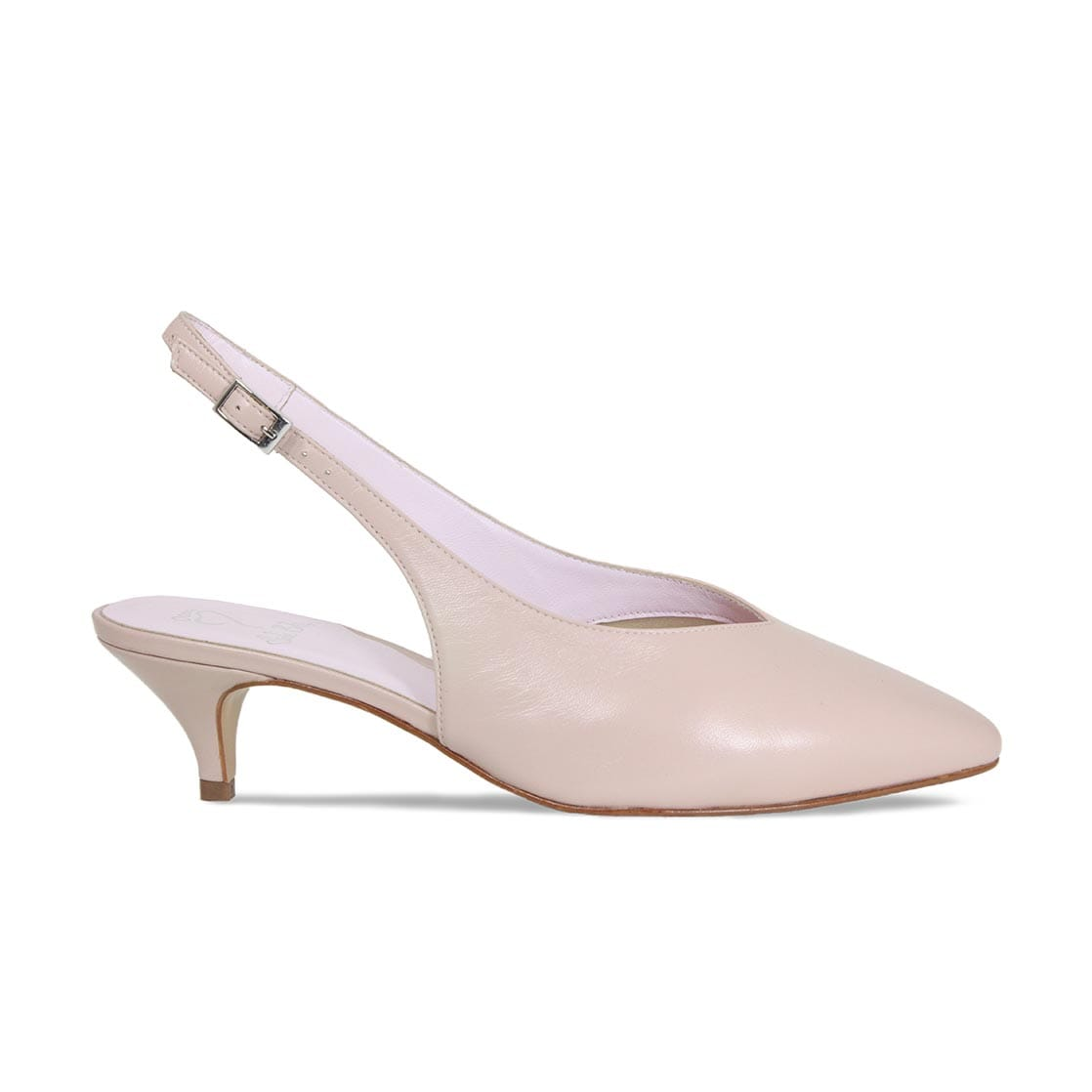 Blush Suede Sling-Back Kitten Pumps