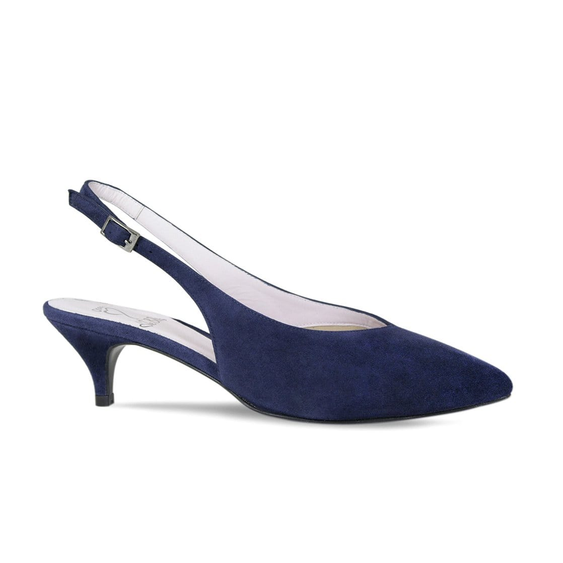 Navy Suede Sling-Back Kitten Pumps
