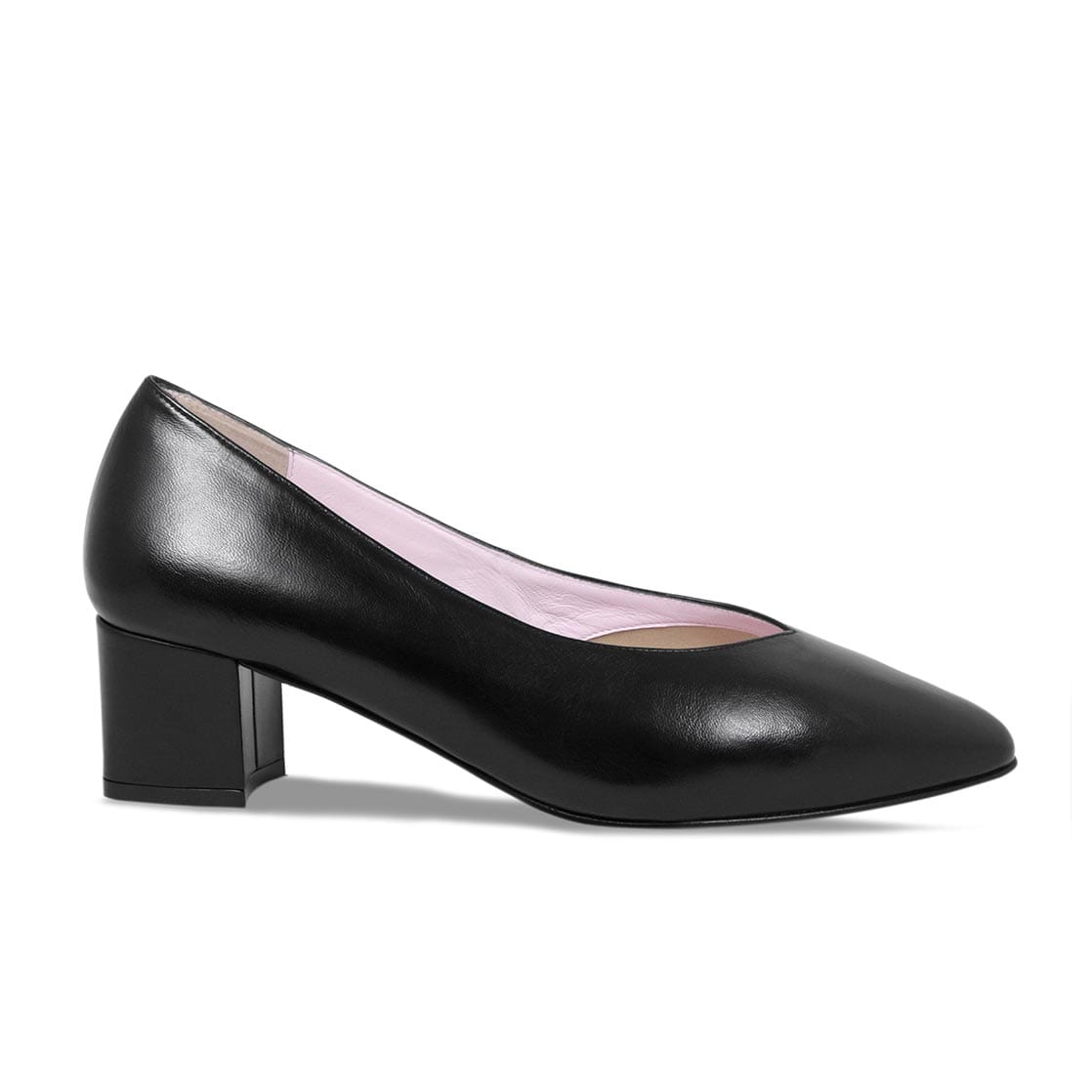 Black Leather Block Heeled Pumps