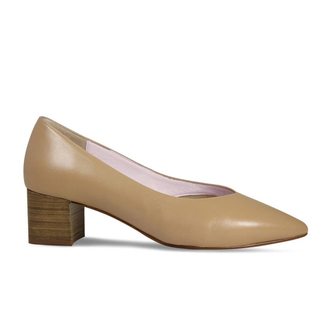 Camel Leather Block Heeled Pumps