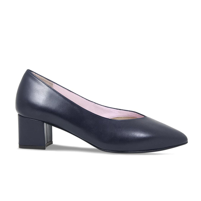 Smart Navy Leather Court Shoes for Bunions