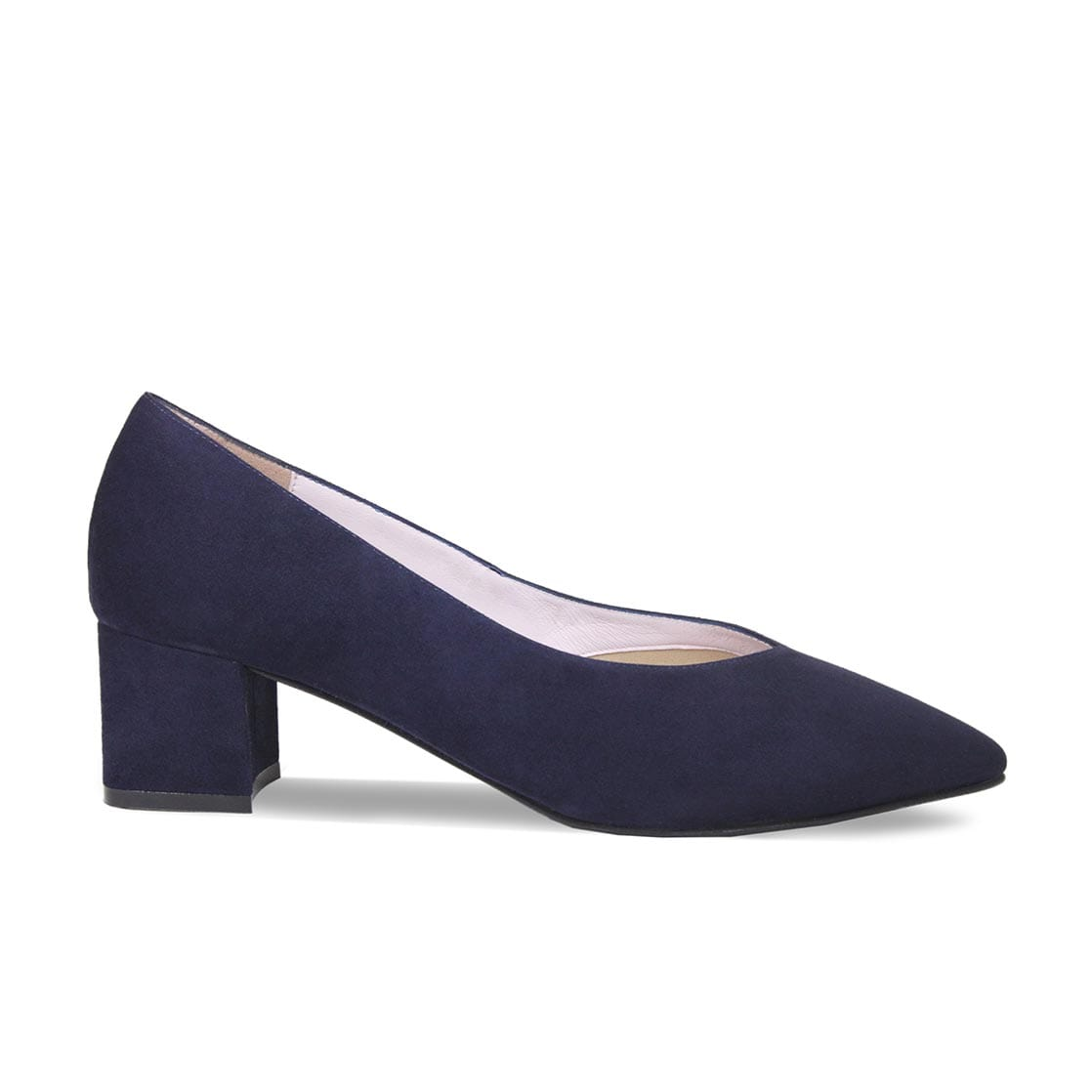 Navy Suede Block Heeled Pumps