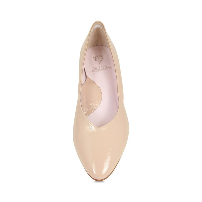 Nude leather wide width block heel for bunions by Sole Bliss