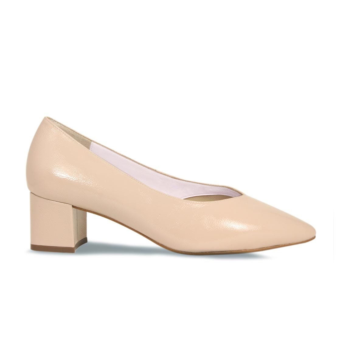 Nude Patent Leather Block Heeled Pumps
