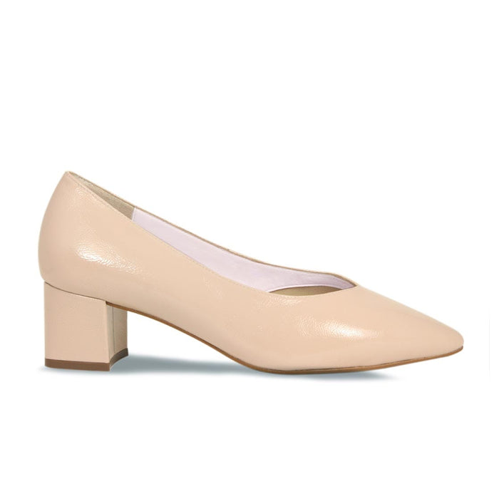 Nude Patent Leather Block Heel Bunion Shoe
