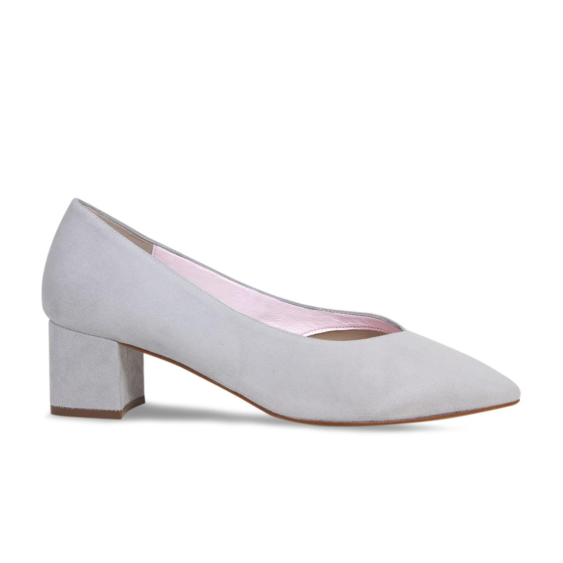 Pale Gray Suede Block Heeled Pumps